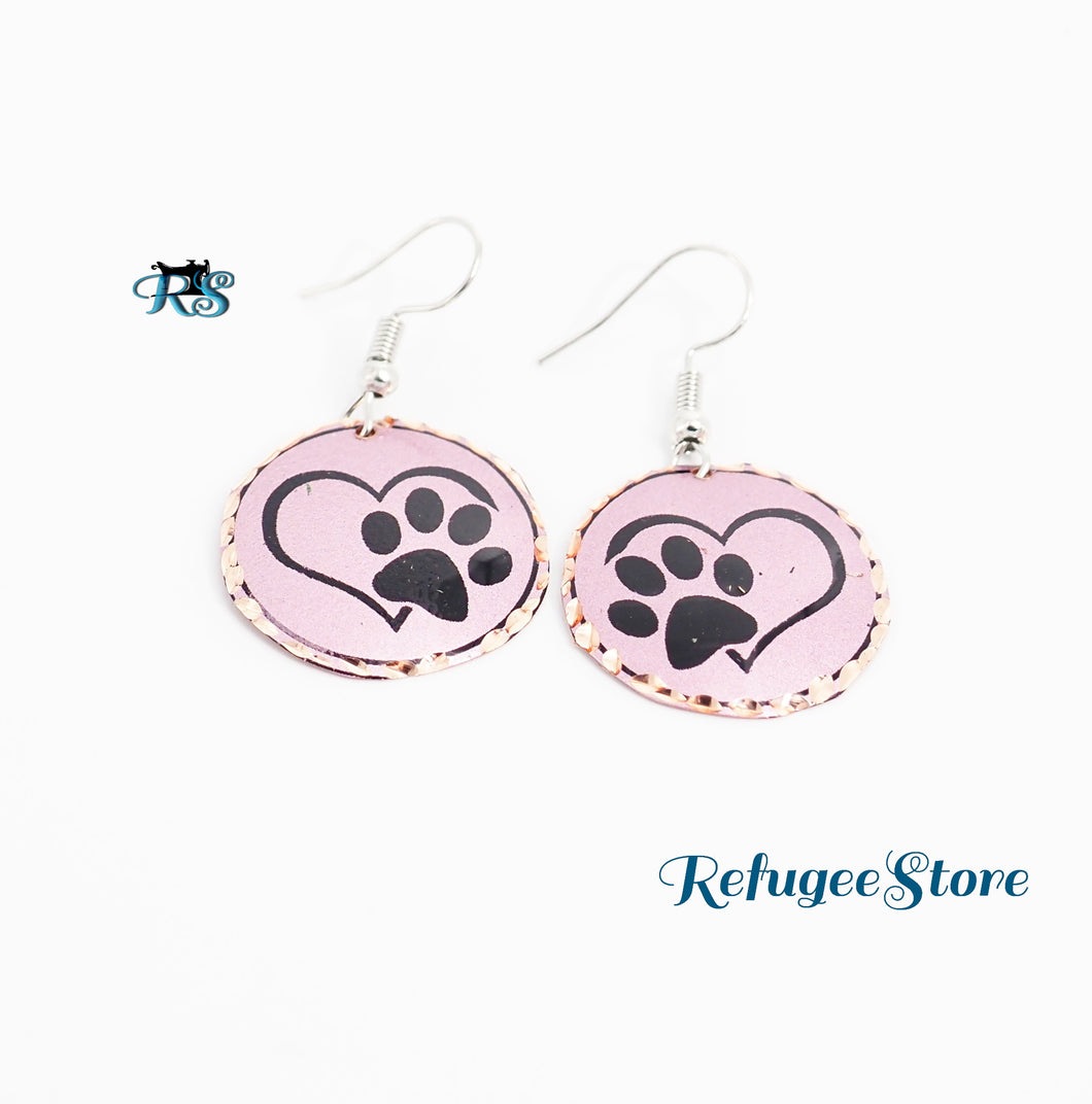 Turkish Copper Earrings Animal Collection Paws Handmade by RefugeeStore