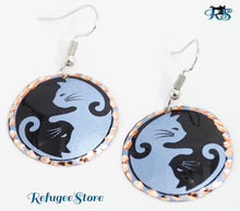 Yin Yang Cat Copper Earrings Handmade Anatolian by RefugeeStore from Turkey Yin - Yang Cats