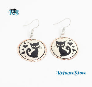 Siamese Cat Copper Earring Handmade  by RefugeeStore in Istanbul, Turkey