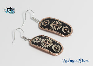 Handmade Turkish Copper Earrings Black Silver and Gold by RefugeeStore