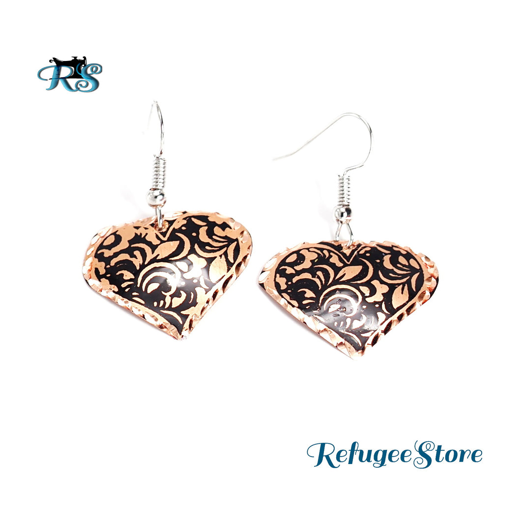 Handmade Turkish Copper Earrings Ottoman Flower Heart-Shaped by RefugeeStore