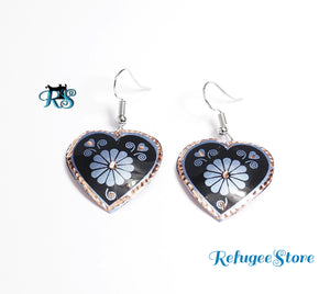 Anatolyan Turkish Design Copper Earring Heart Shape by RefugeeStore