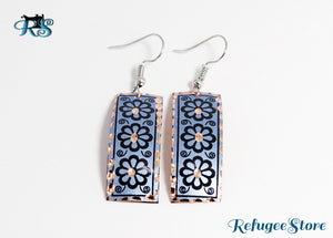 Handmade Turkish Copper Earrings Anatolyan Magenta Blue Plate by RefugeeStore