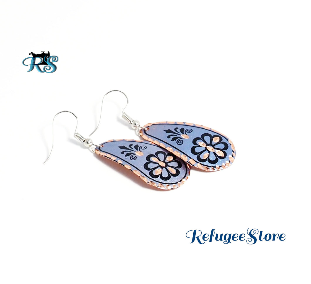 Turkish Copper Earrings Magenta Daisy Petal Gold Rim by RefugeeStore