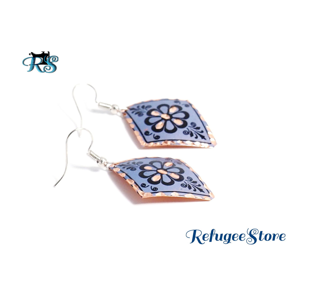 Anatolyan Magenta Blue Plate Turkish Copper Earrings TMG011