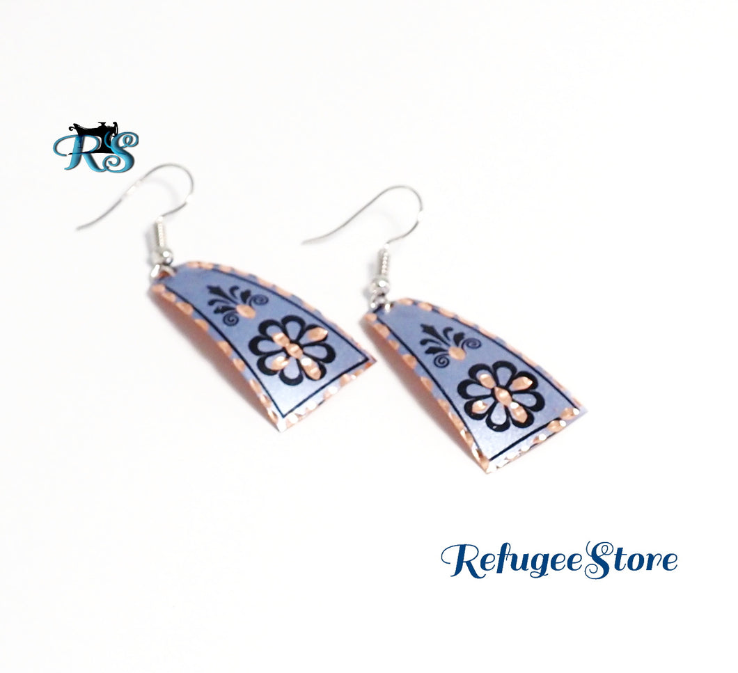 Turkish Copper Earrings Handmade Anatolyan Magenta Blue by RefugeeStore