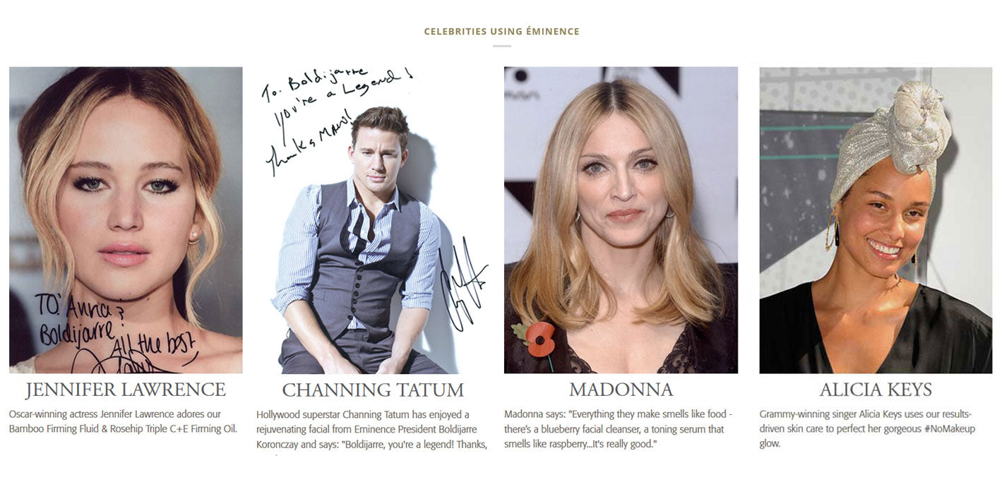 Celebrities using Eminence Organics Skincare Products Madonna Jennifer Lawrence Channing Tattum