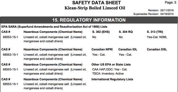 Hurley Maintenance - Klean Strip Linseed Oil Information