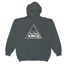 Official Alpha Kingz Unisex Zip Hoodie White Special Logo Back Printed