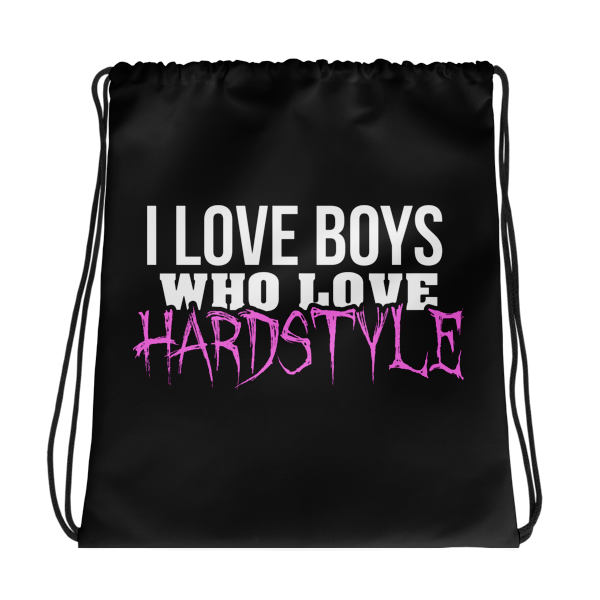I love Boys Hardstyle Drawstring bag