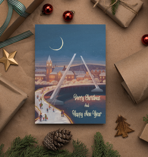 Derry Christmas Greetings Card: Derry Christmas Peace Bridge