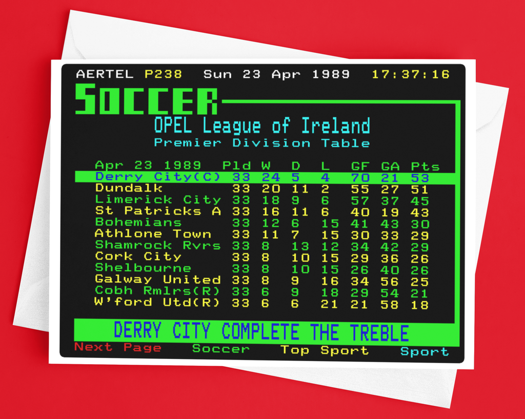 Derry City 1989 Treble Winners Teletext Greetings Card