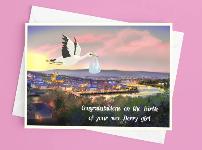 Derry Girl  New Baby Birth Card