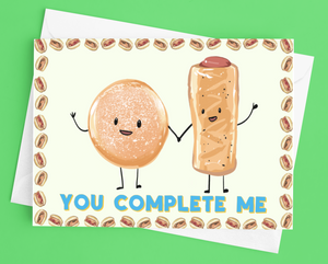 Sausage Roll Bap - 'You Complete Me' Valentine's Day Card