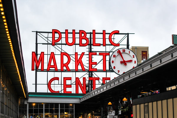 Public Market Place sign and clock