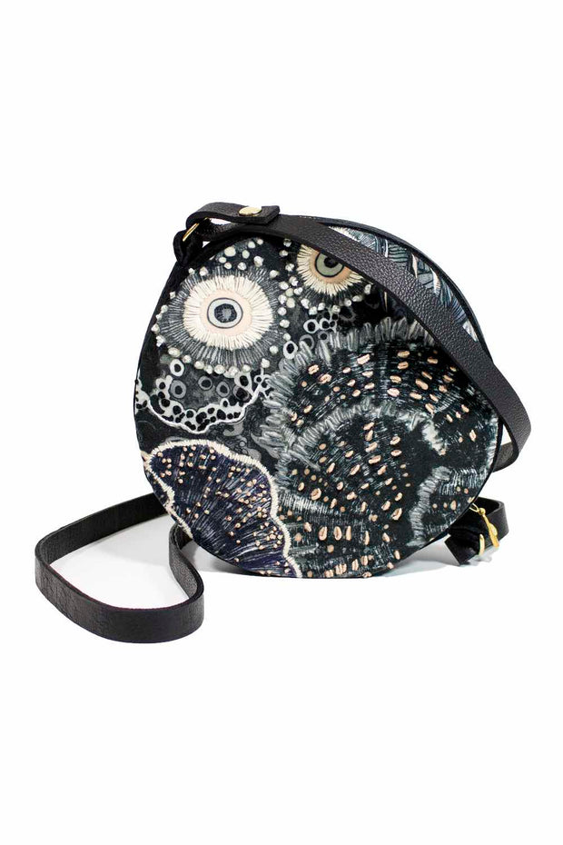 Aureum Oceanum Urchin Round Velvet Bag with leather strap