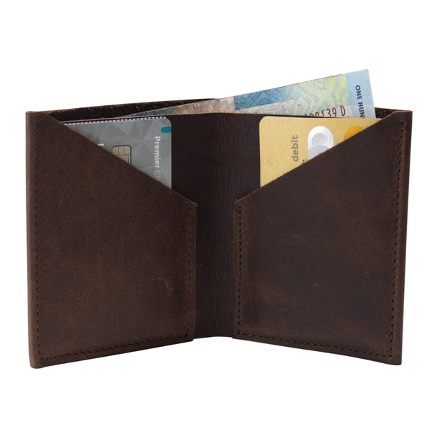 The Ace of Spades Genuine Leather Flip Wallet - Brown