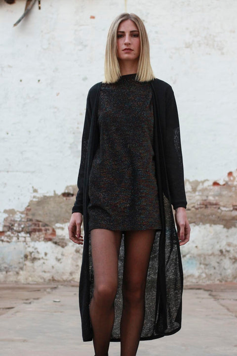 Black Extra Long Cardigan