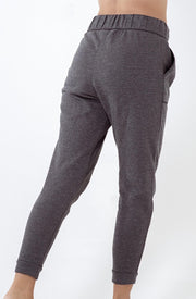charcoal grey brushed fleece high waisted jogger