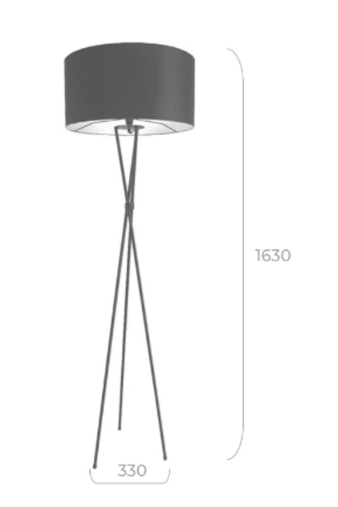 Tripod M/Steel Floor Lamp - Charcoal