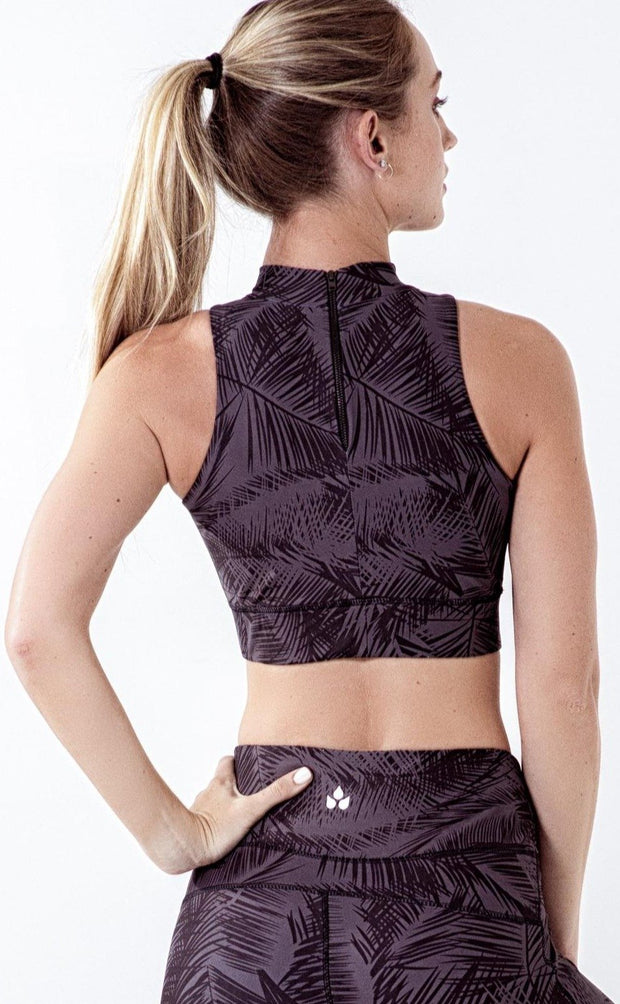 Fern print high-neck crop top sports bra