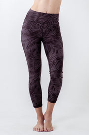 Grey fern print 7/8 high waisted legging with drawstring