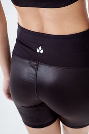 glossy black gym shorts with wide waistband and pocket