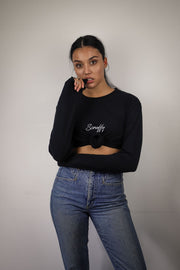 BLACK BACK TO BASICS OVERSIZED LONG SLEEVE WITH WHITE