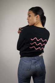 BLACK BACK TO BASICS OVERSIZED LONG SLEEVE WITH PINK