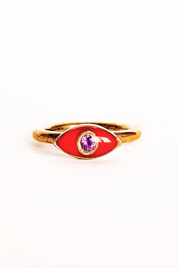 Red Protective Evil Eye Ring