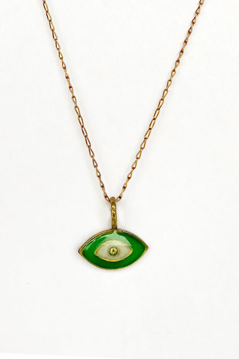 Green Protective Evil Eye Necklace