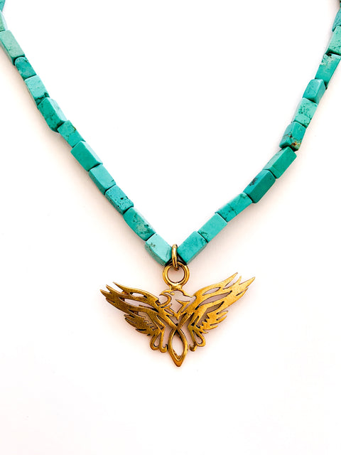 Turquoise Geometric Eagle Necklace