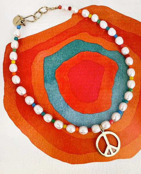 Rainbow pearl choker with peace sign