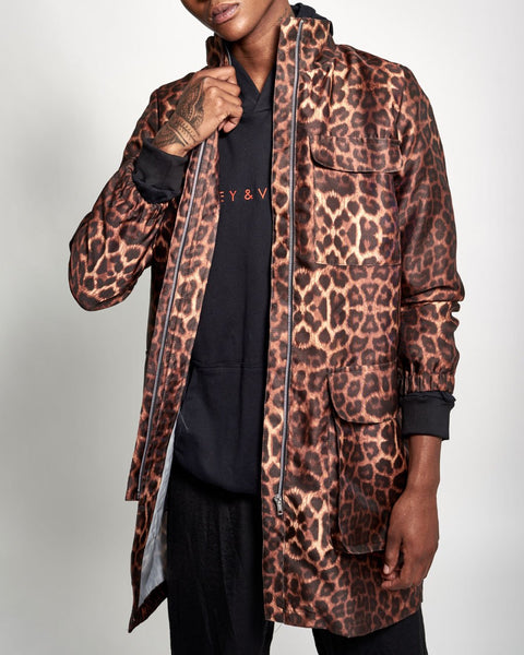 Jaguar Print Longer Length Parka