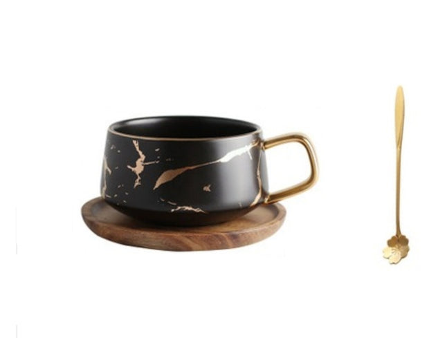 Kintsugi Porcelain Black and Gold Teacup and Saucer with Gold Plated Teaspoon