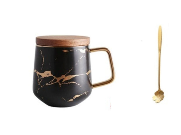 Kintsugi Porcelain Black and Gold Mug with Gold Plated Teaspoon