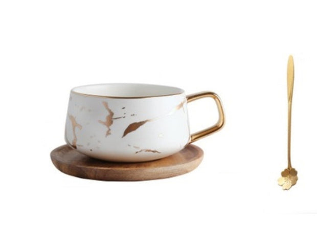 Kintsugi Porcelain White and Gold Teacup and Saucer with Gold Plated Teaspoon