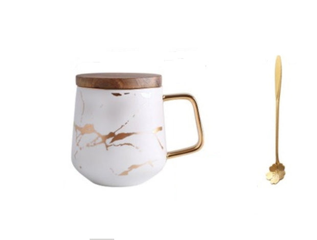 Kintsugi Porcelain White and Gold Mug with Gold Plated Teaspoon