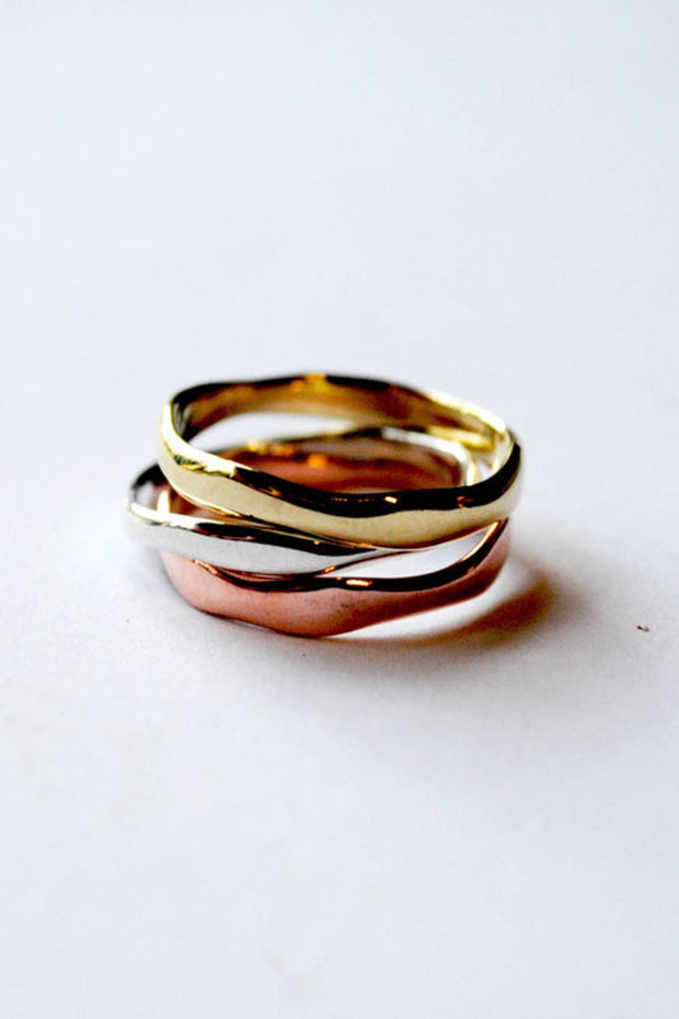 Curve Stack Ring Mixed Metal