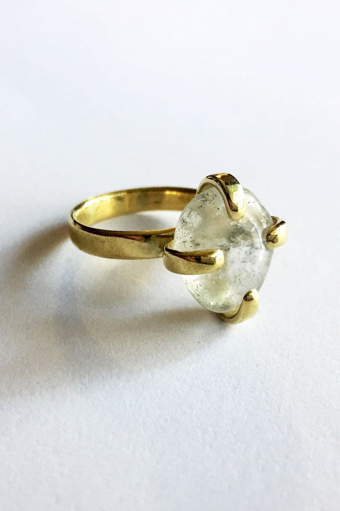 Brass Stone Claw Ring with Clear Quartz