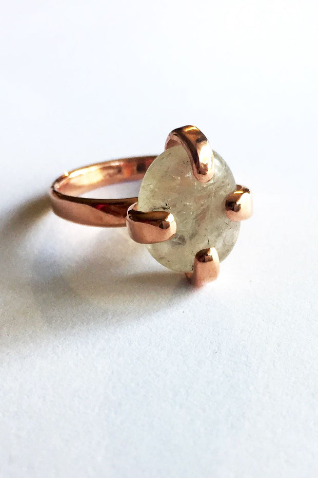 Copper Stone Claw Ring with Clear Quartz