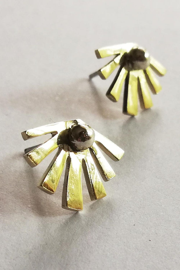 Sun Stud Earrings Brass
