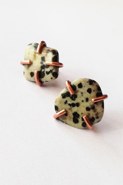 Copper Stone Studs with Dalmatian Jasper
