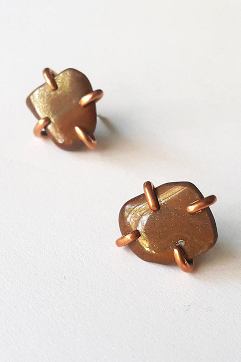 Copper Stone Studs with Tigers Eye
