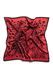 Red & Black Spot On Silk Scarf