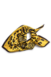 Yellow & Black Spot On Silk Scarf