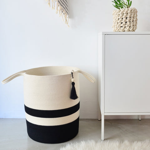 Black Block Collection - Floor Basket Polyprop (tassel)
