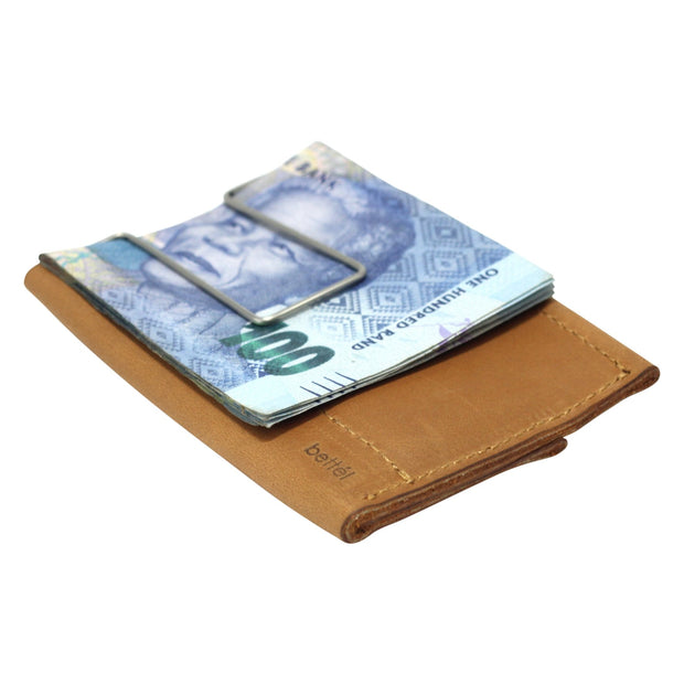 The Minimalist Genuine Leather Moneyclip Wallet - Tan
