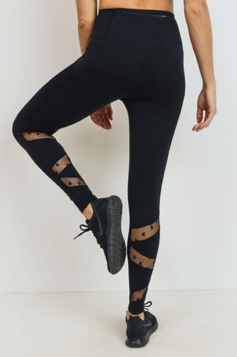 Star Mesh Leggings (Black)
