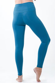 soft high-waisted teal legging with drawstring